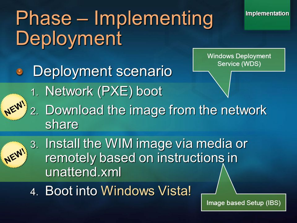 Phase – Implementing Deployment Deployment scenario 1. Network (PXE) boot 2. Download the image from the network share 3. Install the WIM image via me