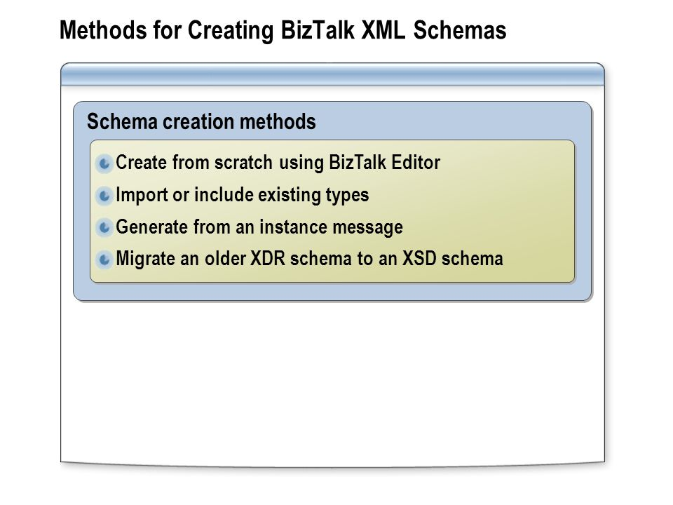 Methods for Creating BizTalk XML Schemas Schema creation methods Create from scratch using BizTalk Editor Import or include existing types Generate from an instance message Migrate an older XDR schema to an XSD schema Create from scratch using BizTalk Editor Import or include existing types Generate from an instance message Migrate an older XDR schema to an XSD schema