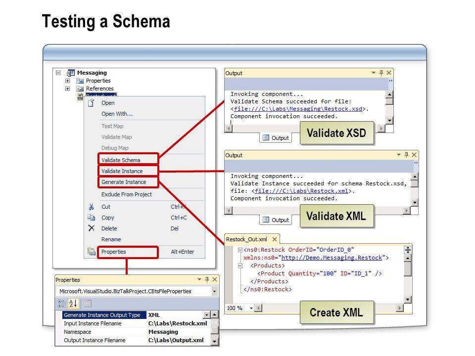 Testing a Schema Create XML Validate XSD Validate XML