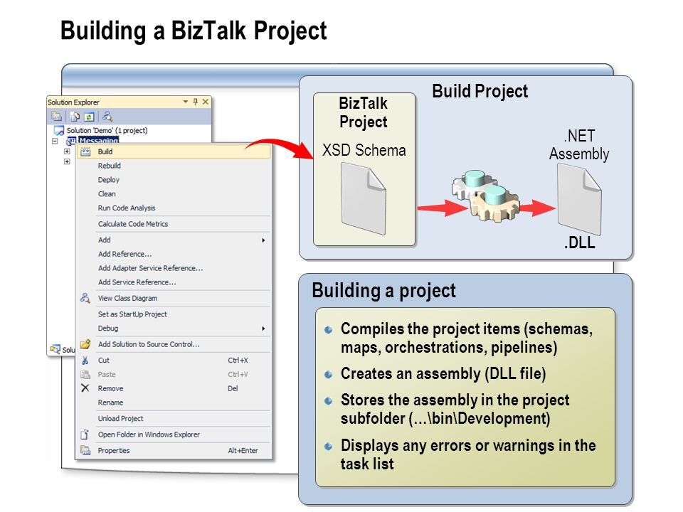 Building a BizTalk Project Building a project Compiles the project items (schemas, maps, orchestrations, pipelines) Creates an assembly (DLL file) Stores the assembly in the project subfolder (…\bin\Development) Displays any errors or warnings in the task list Compiles the project items (schemas, maps, orchestrations, pipelines) Creates an assembly (DLL file) Stores the assembly in the project subfolder (…\bin\Development) Displays any errors or warnings in the task list Compile Build Project.NET Assembly.DLL BizTalk Project XSD Schema