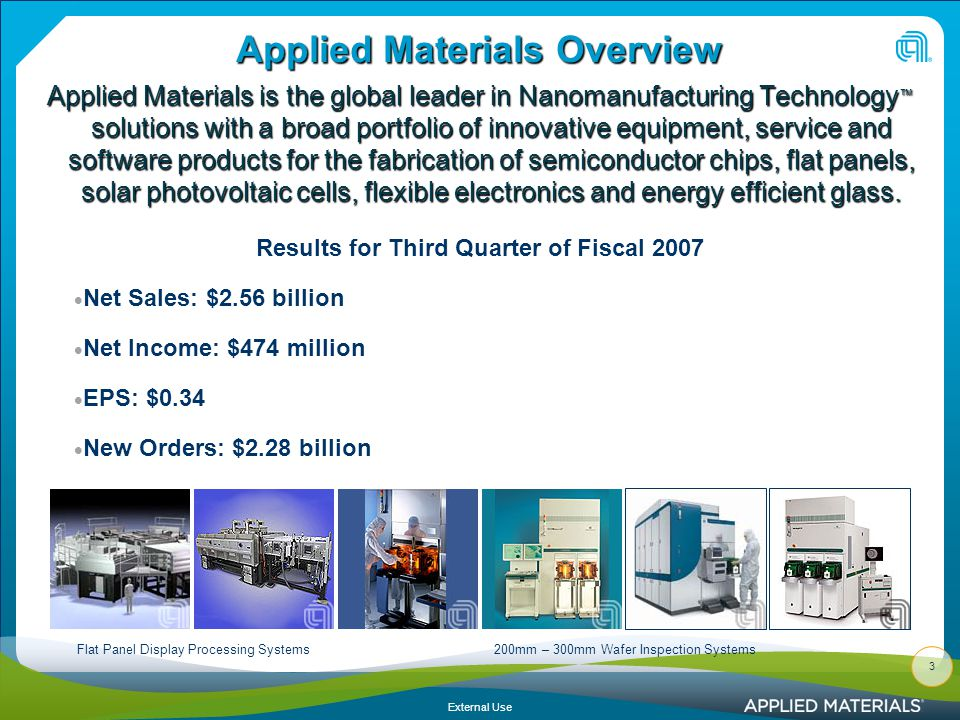 External Use Authorized Labels for Information: Applied Materials Confidential.