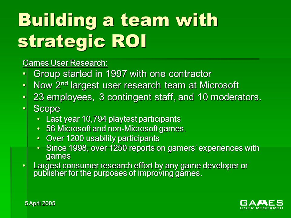 5 April 2005 Building a team with strategic ROI Games User Research: Group started in 1997 with one contractorGroup started in 1997 with one contractor Now 2 nd largest user research team at MicrosoftNow 2 nd largest user research team at Microsoft 23 employees, 3 contingent staff, and 10 moderators.23 employees, 3 contingent staff, and 10 moderators.