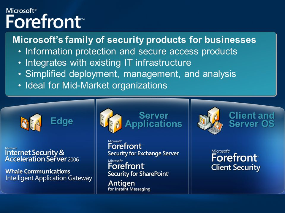 Edge Client and Server OS Server Applications Microsoft's family of security products for businesses Information protection and secure access products Integrates with existing IT infrastructure Simplified deployment, management, and analysis Ideal for Mid-Market organizations