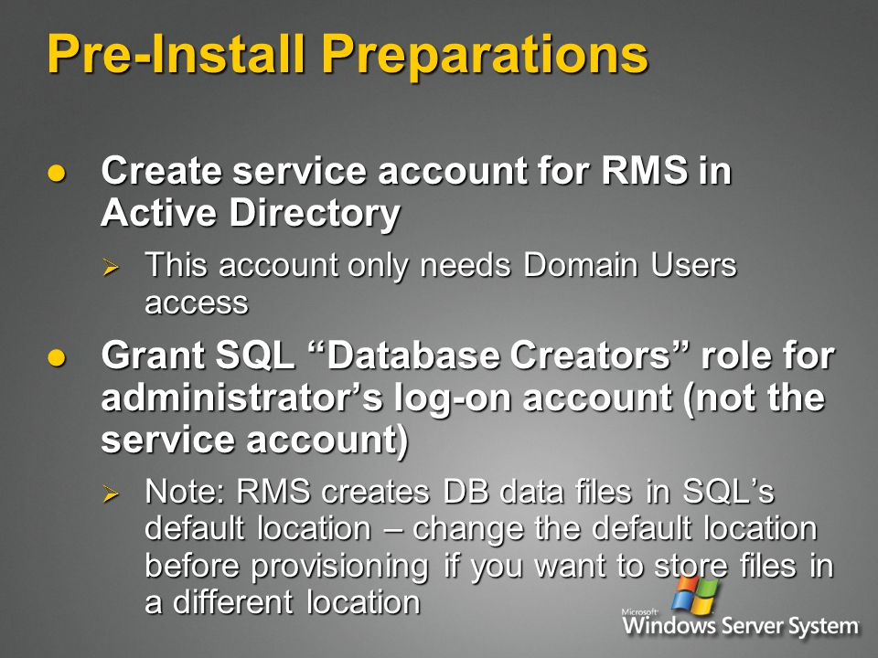 RMS User Certification (1) Assumptions: Assumptions:  RMS Client already installed and Activated  No special requirements for the user Application attempts an RMS operation for a user and determines user has no RAC Application attempts an RMS operation for a user and determines user has no RAC Application performs service discovery to find out which Certification server to use Application performs service discovery to find out which Certification server to use  Registry overrides  AD lookup for SCP  Direct request to Microsoft (MSN) Application asks user whether to use Passport or Windows credentials Application asks user whether to use Passport or Windows credentials