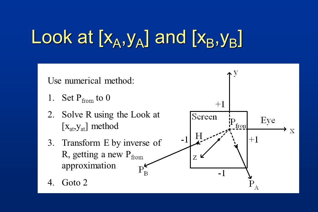 Use numerical method: 1.Set P from to 0 2.Solve R using the Look at [x at,y at ] method 3.Transform E by inverse of R, getting a new P from approximation 4.Goto 2 Look at [x A,y A ] and [x B,y B ]