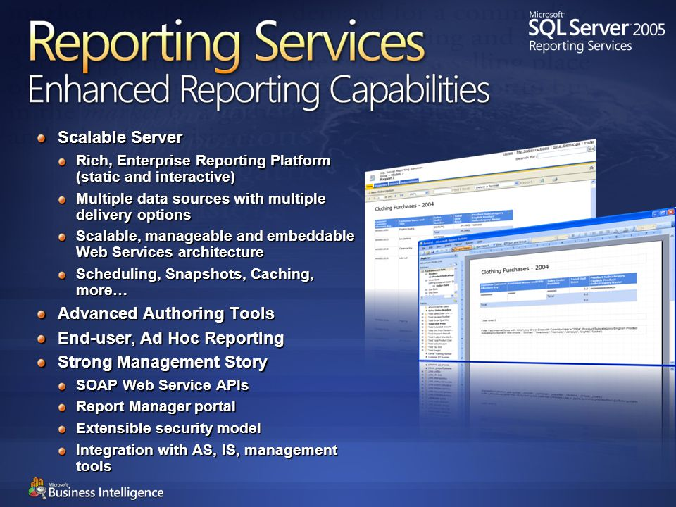 Extending the Reach of Reporting Services Ad hoc Reporting for the End-User With Report Builder you can: Report off a Business Model Modify a Report Build a New Report Report on Relational or OLAP data
