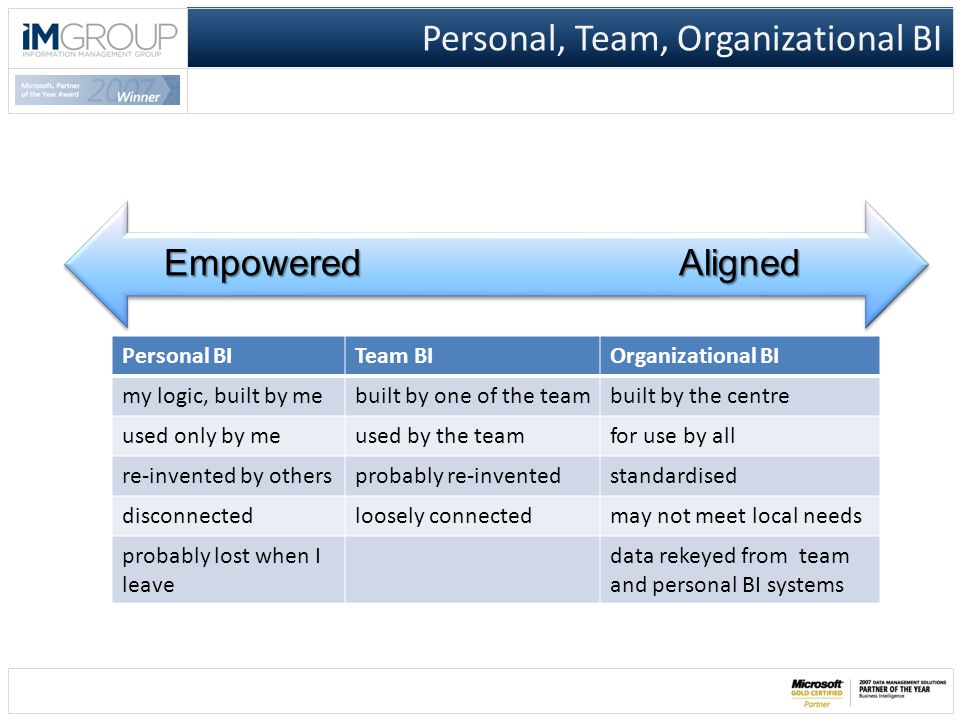 Personal, Team, Organizational BI Personal BITeam BIOrganizational BI my logic, built by mebuilt by one of the teambuilt by the centre used only by me