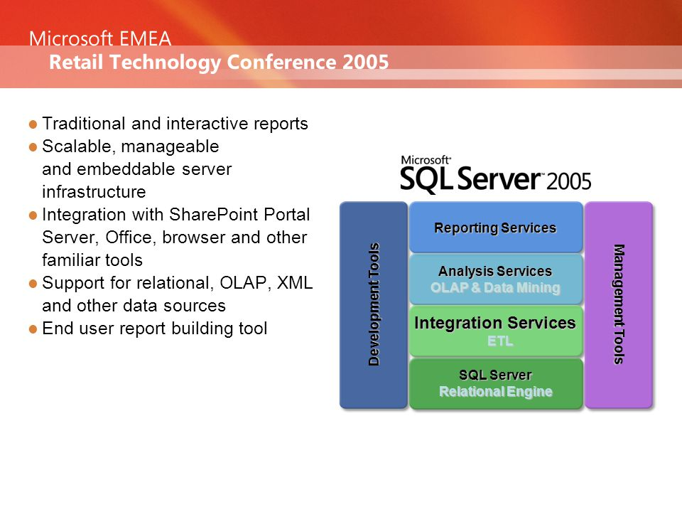 Traditional and interactive reports Scalable, manageable and embeddable server infrastructure Integration with SharePoint Portal Server, Office, browser and other familiar tools Support for relational, OLAP, XML and other data sources End user report building tool Analysis Services OLAP & Data Mining Integration Services ETL SQL Server Relational Engine Reporting Services Management Tools Development Tools