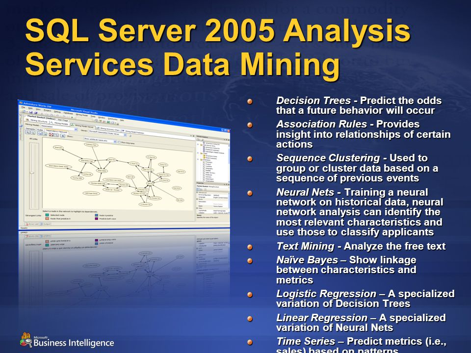 SQL Server 2005 Analysis Services Data Mining Decision Trees - Predict the odds that a future behavior will occur Association Rules - Provides insight into relationships of certain actions Sequence Clustering - Used to group or cluster data based on a sequence of previous events Neural Nets - Training a neural network on historical data, neural network analysis can identify the most relevant characteristics and use those to classify applicants Text Mining - Analyze the free text Naïve Bayes – Show linkage between characteristics and metrics Logistic Regression – A specialized variation of Decision Trees Linear Regression – A specialized variation of Neural Nets Time Series – Predict metrics (i.e., sales) based on patterns