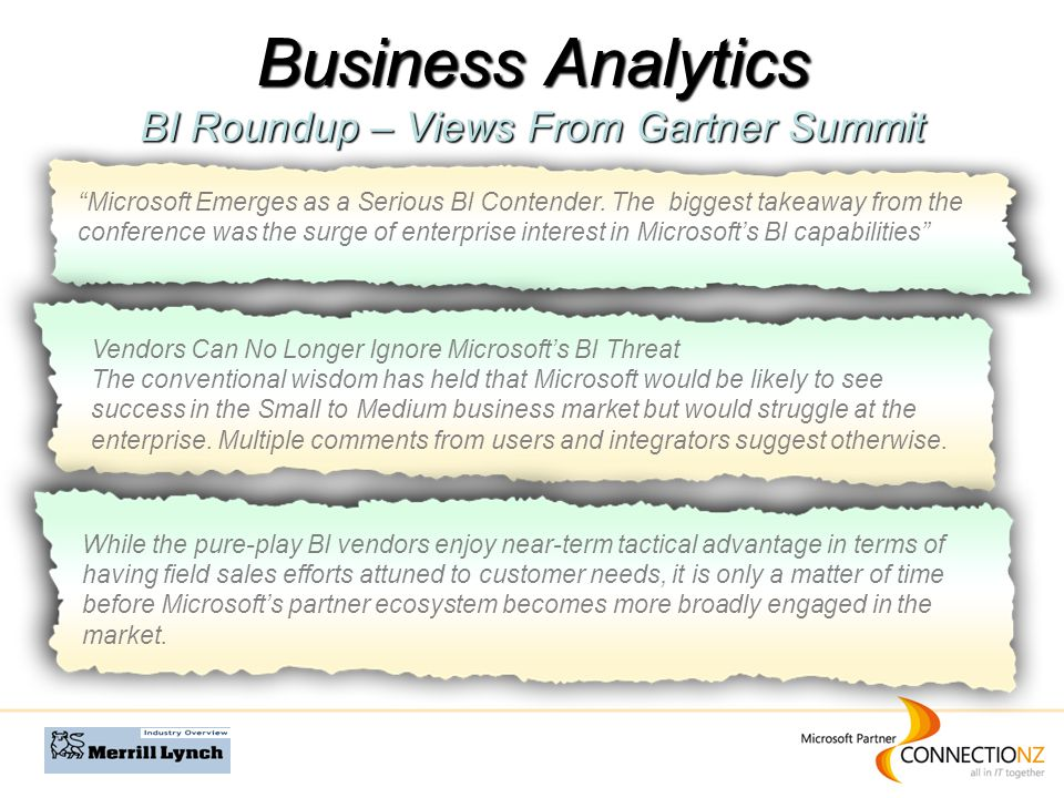 Business Analytics BI Roundup – Views From Gartner Summit Microsoft Emerges as a Serious BI Contender.