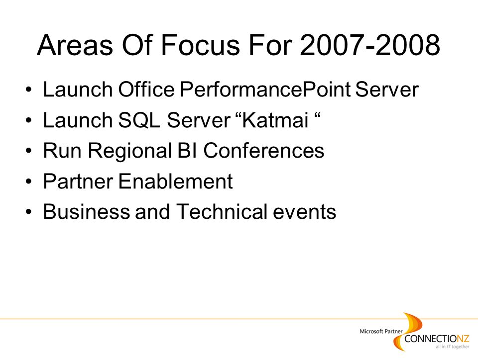 Areas Of Focus For 2007-2008 Launch Office PerformancePoint Server Launch SQL Server Katmai Run Regional BI Conferences Partner Enablement Business and Technical events