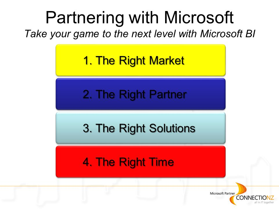 Partnering with Microsoft Take your game to the next level with Microsoft BI 1.