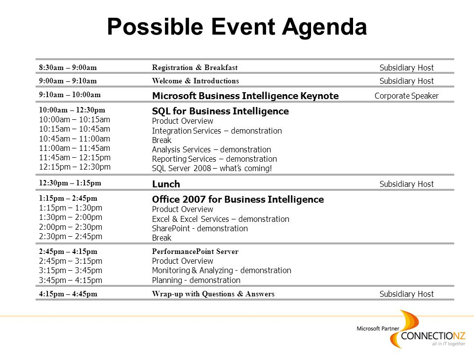 Possible Event Agenda 8:30am – 9:00amRegistration & Breakfast Subsidiary Host 9:00am – 9:10amWelcome & Introductions Subsidiary Host 9:10am – 10:00am Microsoft Business Intelligence Keynote Corporate Speaker 10:00am – 12:30pm 10:00am – 10:15am 10:15am – 10:45am 10:45am – 11:00am 11:00am – 11:45am 11:45am – 12:15pm 12:15pm – 12:30pm SQL for Business Intelligence Product Overview Integration Services – demonstration Break Analysis Services – demonstration Reporting Services – demonstration SQL Server 2008 – what's coming.
