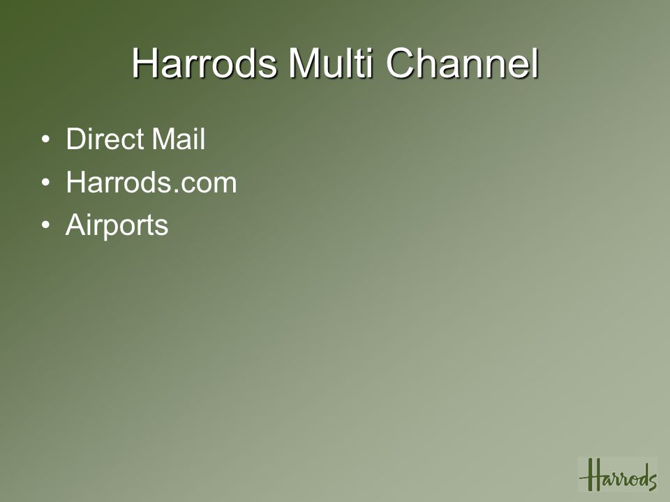 The Future Harrods Business insight Programme –Direct to strategy –SQL 2005 Core –Third Party Providers –64bit AMD Architecture