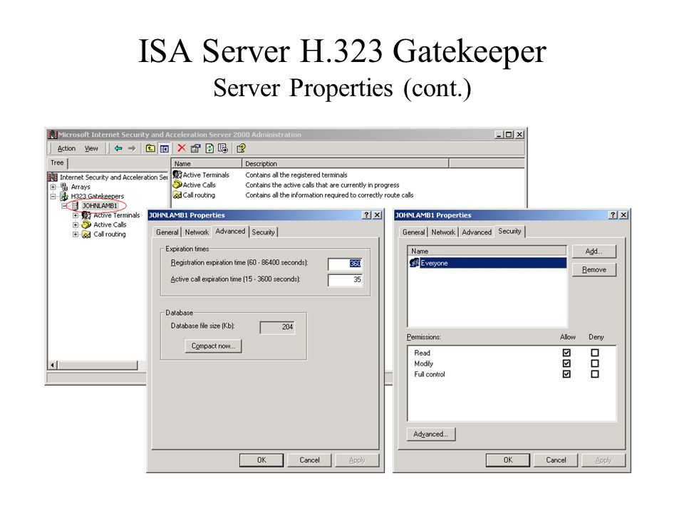 ISA Server H.323 Gatekeeper Server Properties (cont.)
