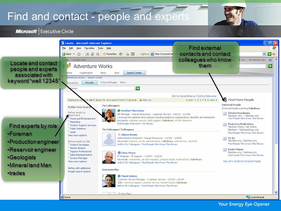 Locate and contact people and experts associated with keyword well Find external contacts and contact colleagues who know them Find experts by role: ForemanForeman Production engineerProduction engineer Reservoir engineerReservoir engineer GeologistsGeologists Mineral land ManMineral land Man tradestrades Find experts by role: ForemanForeman Production engineerProduction engineer Reservoir engineerReservoir engineer GeologistsGeologists Mineral land ManMineral land Man tradestrades Find and contact - people and experts