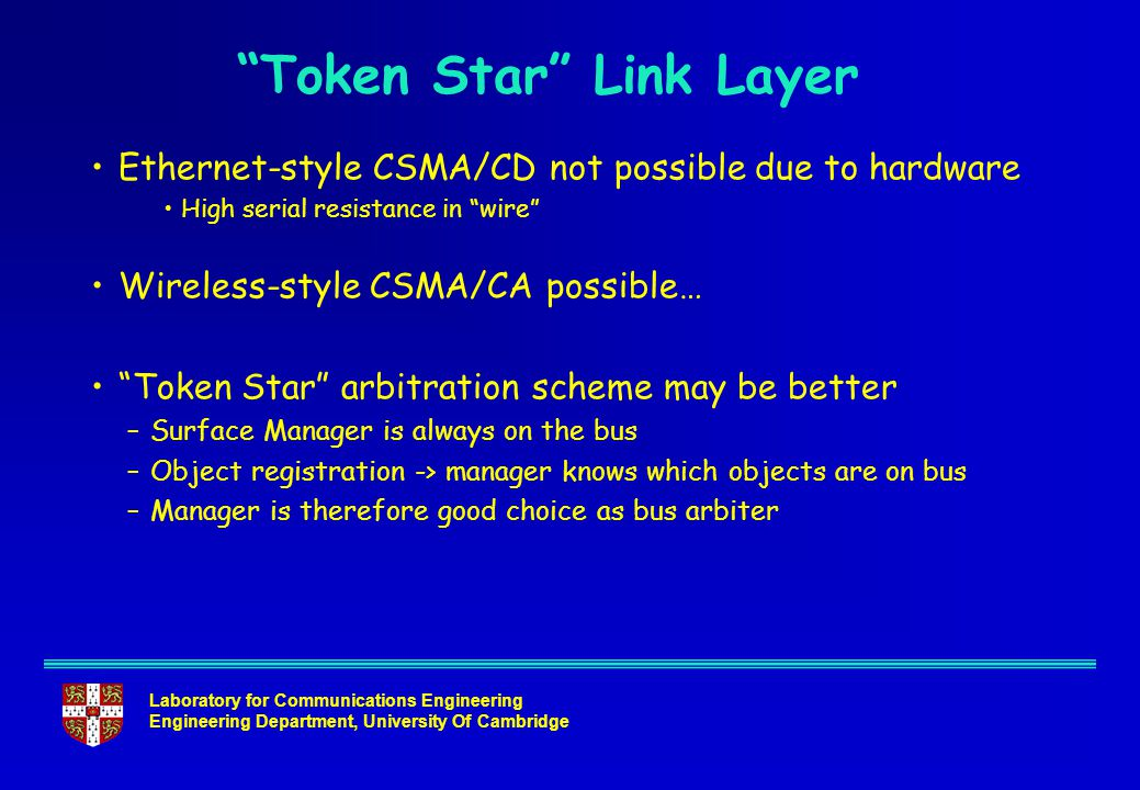 Laboratory for Communications Engineering Engineering Department, University Of Cambridge Ethernet-style CSMA/CD not possible due to hardware High serial resistance in wire Wireless-style CSMA/CA possible… Token Star arbitration scheme may be better –Surface Manager is always on the bus –Object registration -> manager knows which objects are on bus –Manager is therefore good choice as bus arbiter Token Star Link Layer