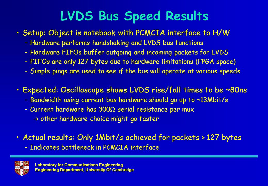 Laboratory for Communications Engineering Engineering Department, University Of Cambridge LVDS Bus Speed Results Setup: Object is notebook with PCMCIA