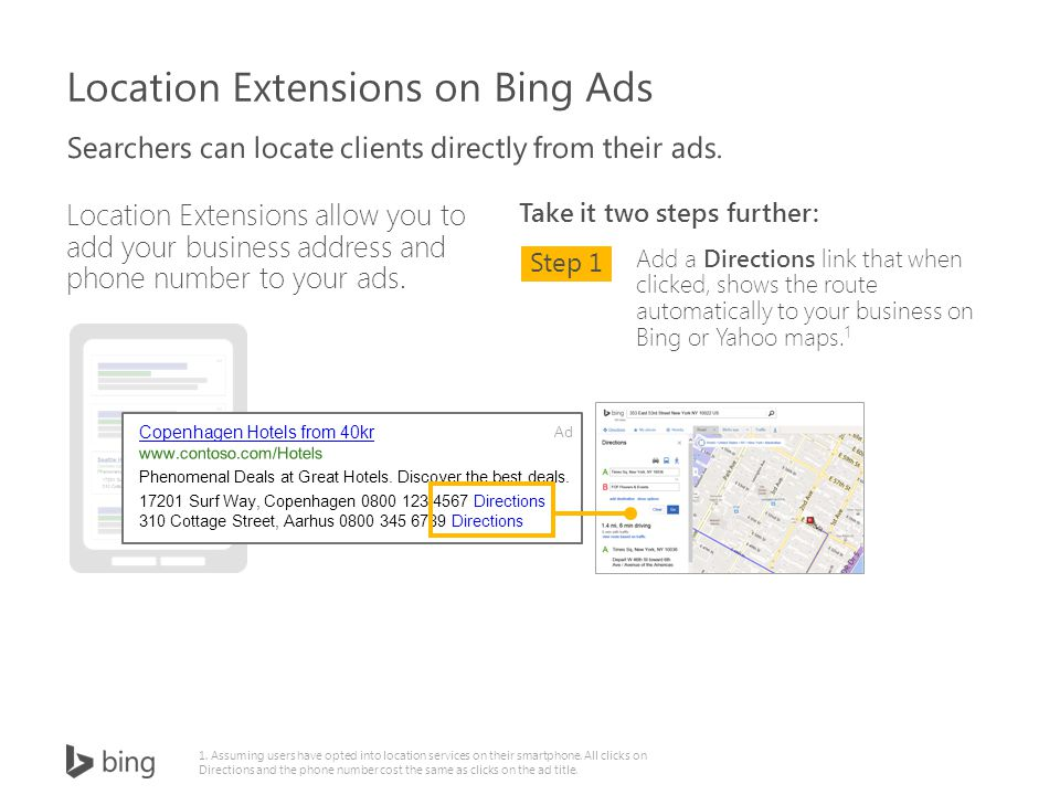 Location Extensions allow you to add your business address and phone number to your ads.