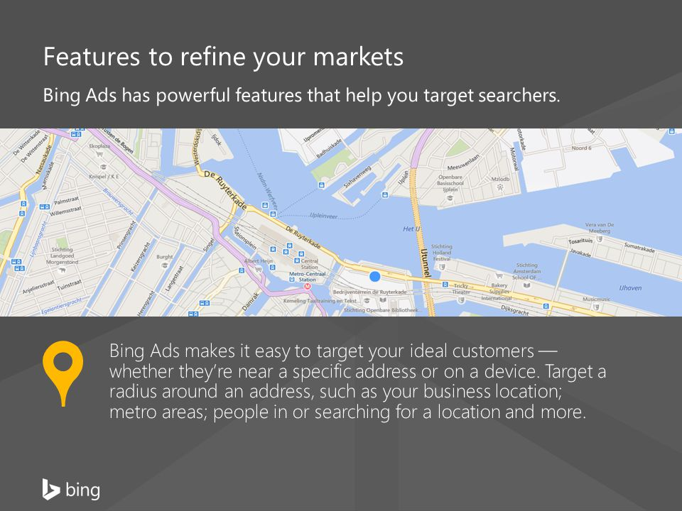 Features to refine your markets