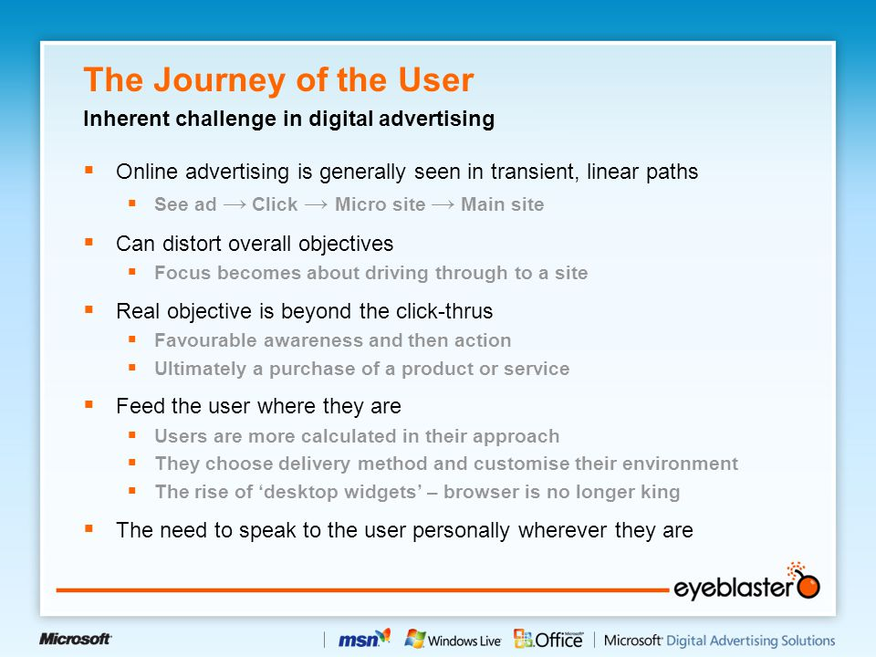 The Journey of the User  Online advertising is generally seen in transient, linear paths  See ad → Click → Micro site → Main site  Can distort over