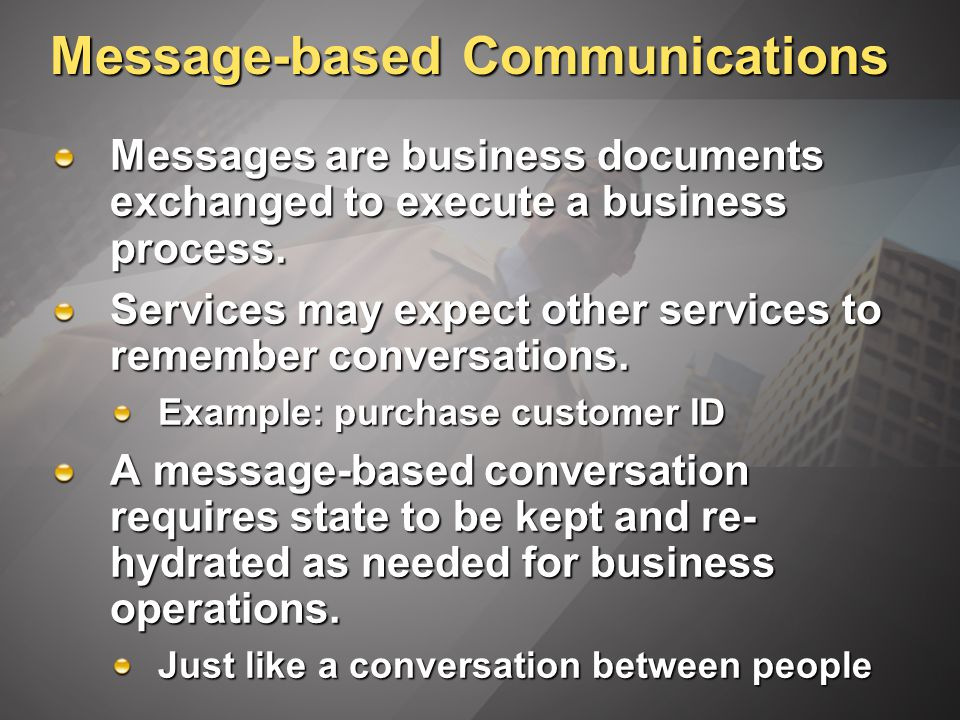 Message-based Communications Messages are business documents exchanged to execute a business process.