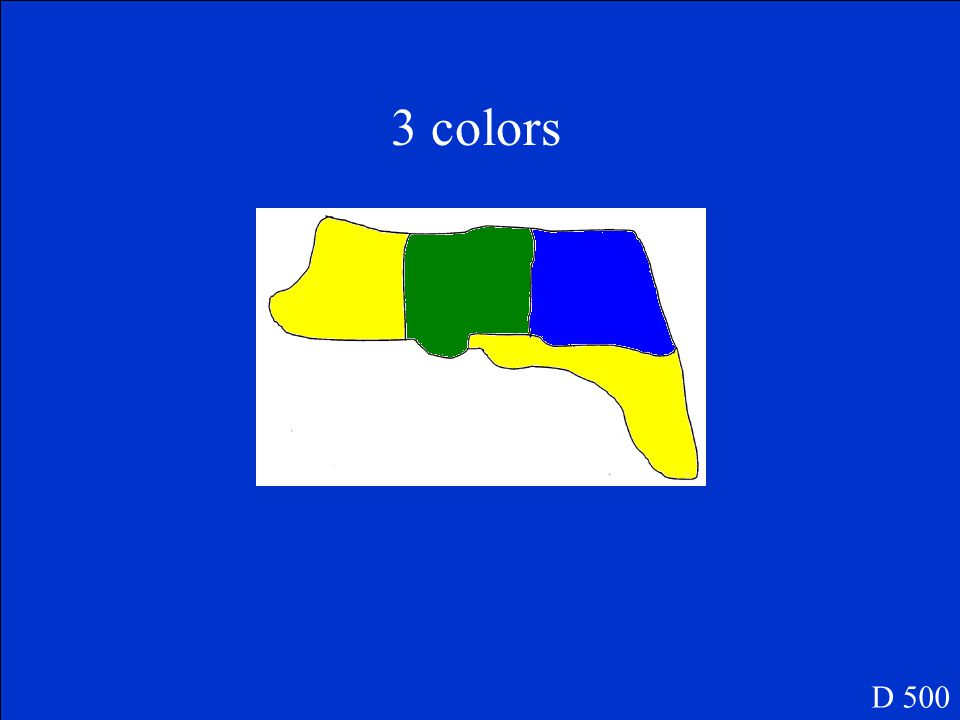 To color the following map, you want to use as few colors as possible. What is the fewest number of colors you can use so that no areas that touch are