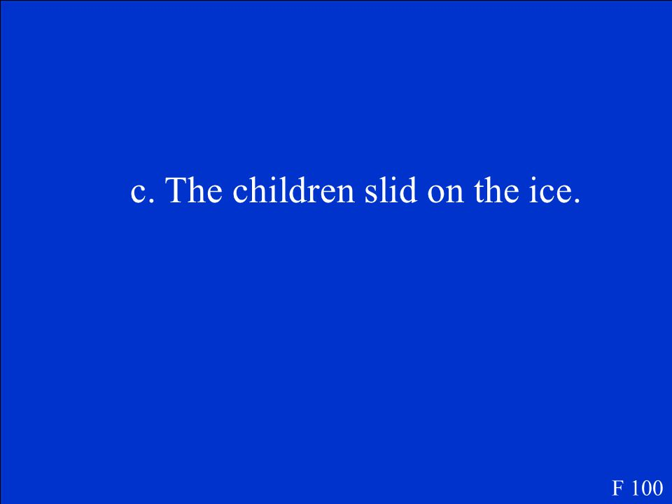 F 100 The reader can tell from the poem that the weather is cold because A. the children stopped for lunch. B. the mother brought some cake. C. the ch
