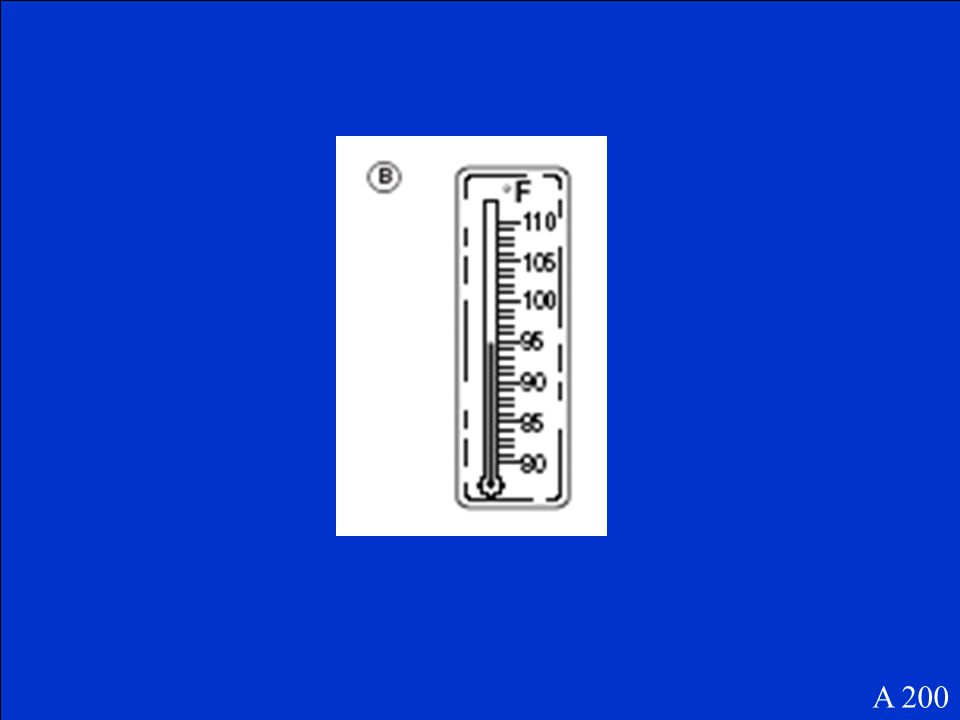 Question Number Two A A 200 Jillian saw that the temperature was 94º Fahrenheit. Which thermometer shows 94º Fahrenheit?