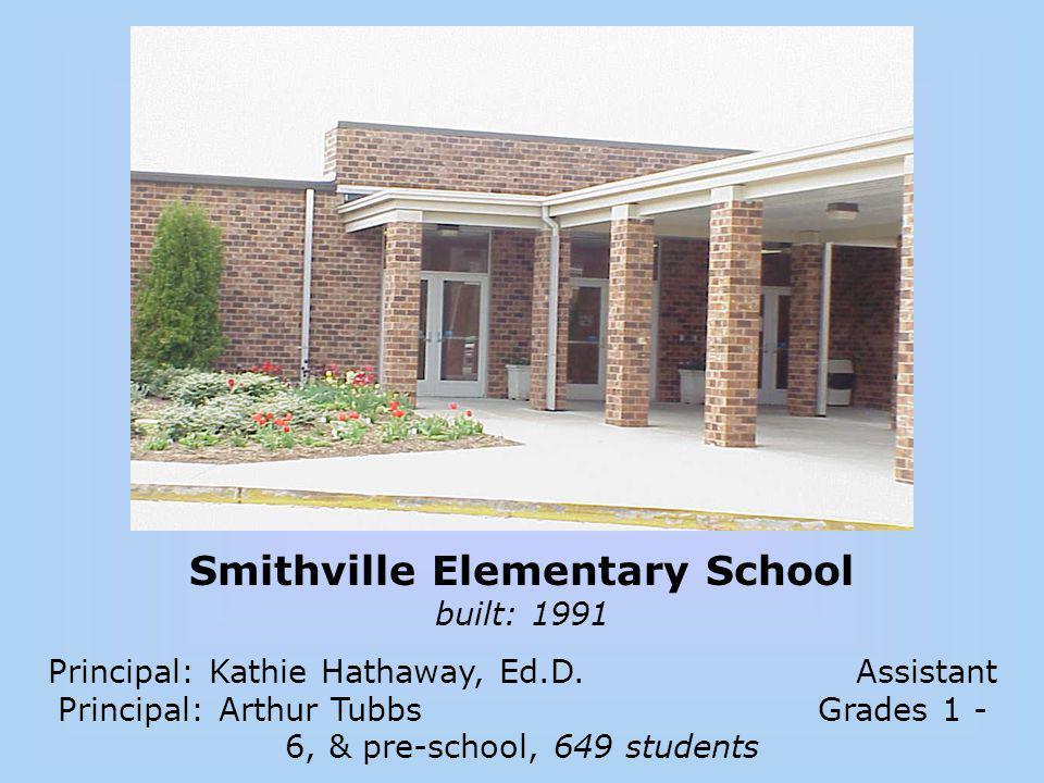 Smithville Elementary School built: 1991 Principal: Kathie Hathaway, Ed.D. Assistant Principal: Arthur Tubbs Grades 1 - 6, & pre-school, 649 students