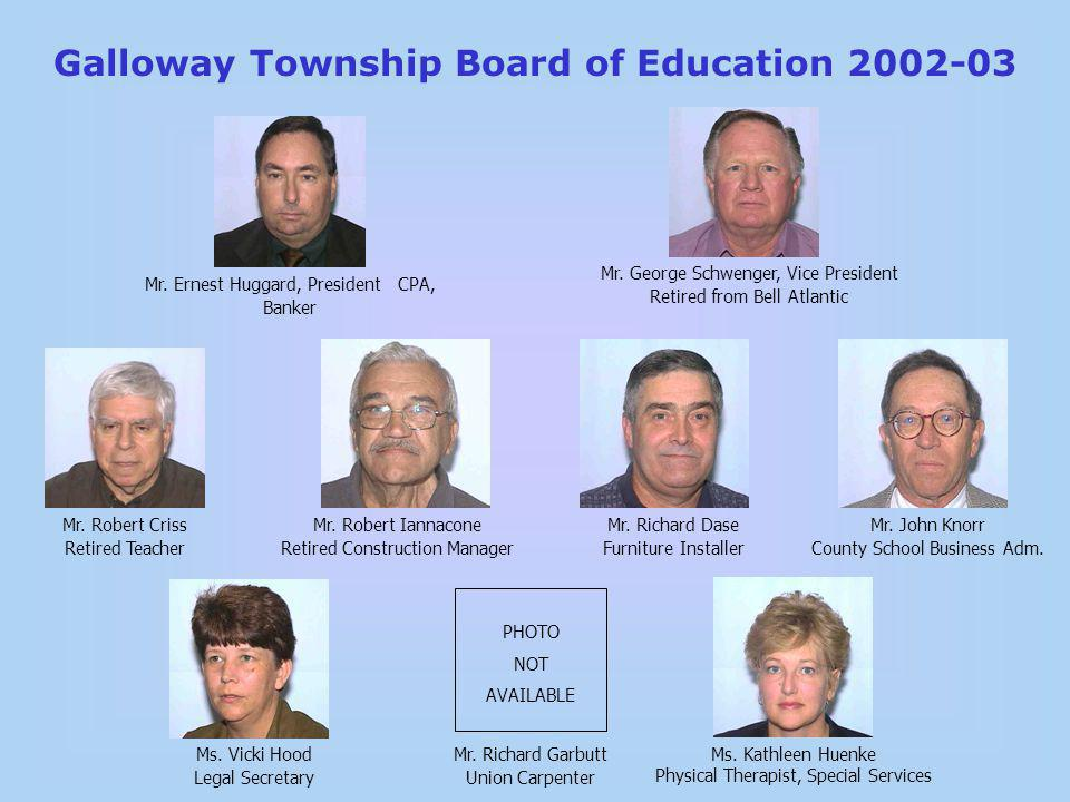 Galloway Township Board of Education 2002-03 Mr. Ernest Huggard, President CPA, Banker Ms.