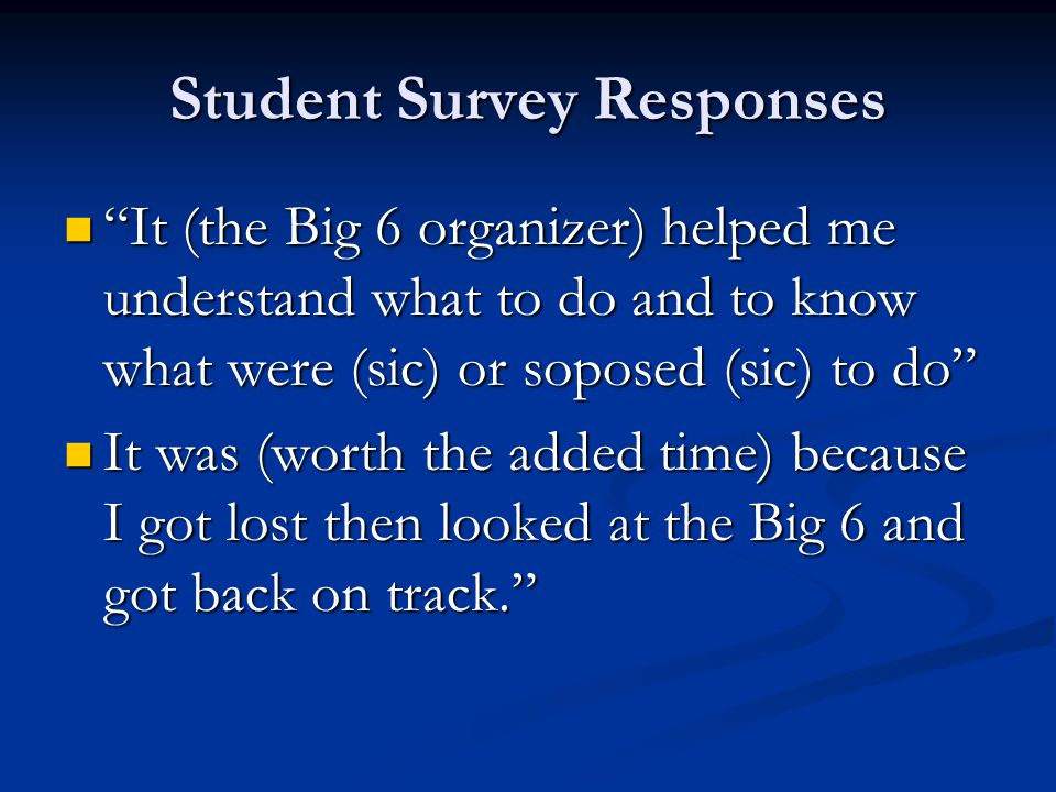 Student Survey Responses It (the Big 6 organizer) helped me understand what to do and to know what were (sic) or soposed (sic) to do It (the Big 6 organizer) helped me understand what to do and to know what were (sic) or soposed (sic) to do It was (worth the added time) because I got lost then looked at the Big 6 and got back on track. It was (worth the added time) because I got lost then looked at the Big 6 and got back on track.
