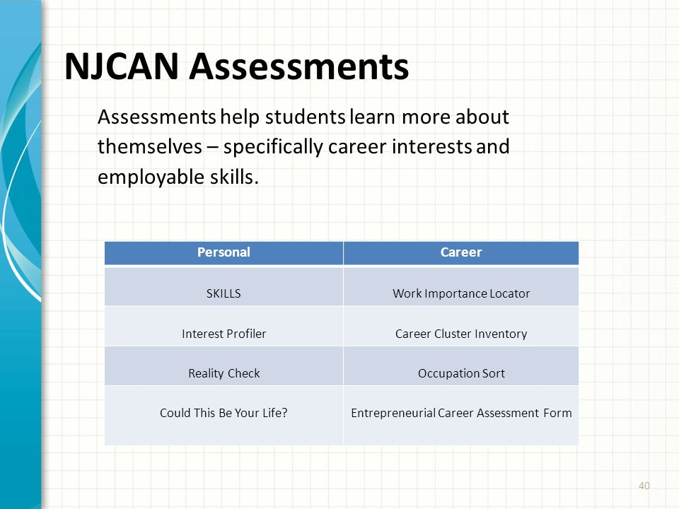 40 NJCAN Assessments Assessments help students learn more about themselves – specifically career interests and employable skills. PersonalCareer SKILL