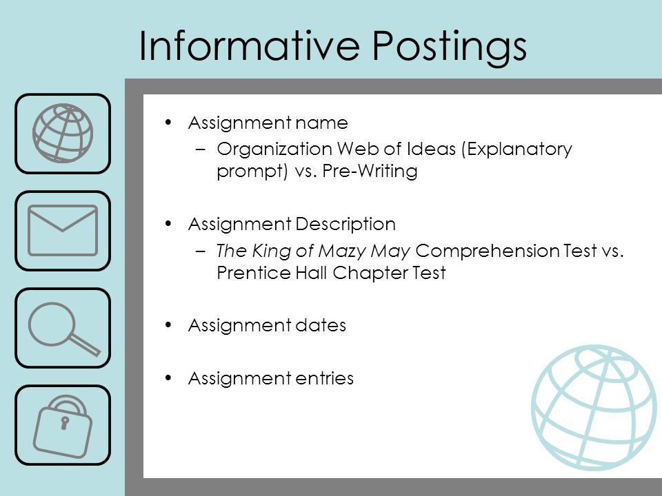 Assignment name –Organization Web of Ideas (Explanatory prompt) vs.