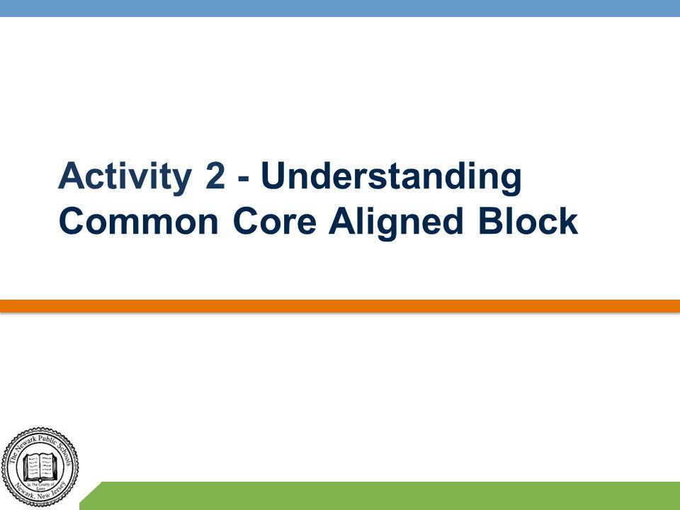 Activity 2 - Understanding Common Core Aligned Block