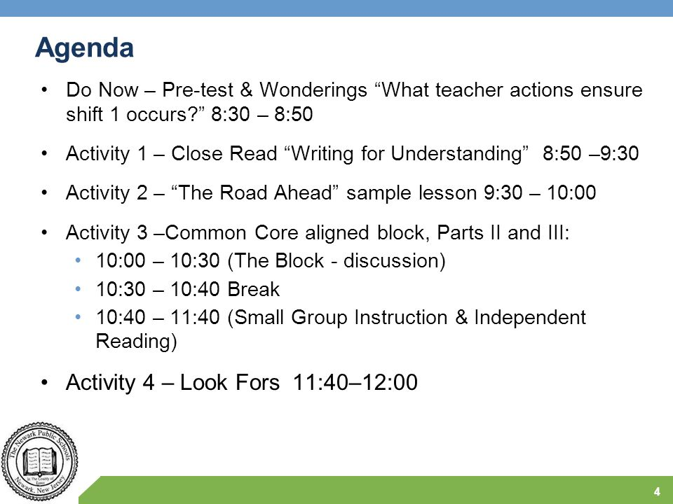 """Agenda Do Now – Pre-test & Wonderings """"What teacher actions ensure shift 1 occurs?"""" 8:30 – 8:50 Activity 1 – Close Read """"Writing for Understanding"""" 8:"""