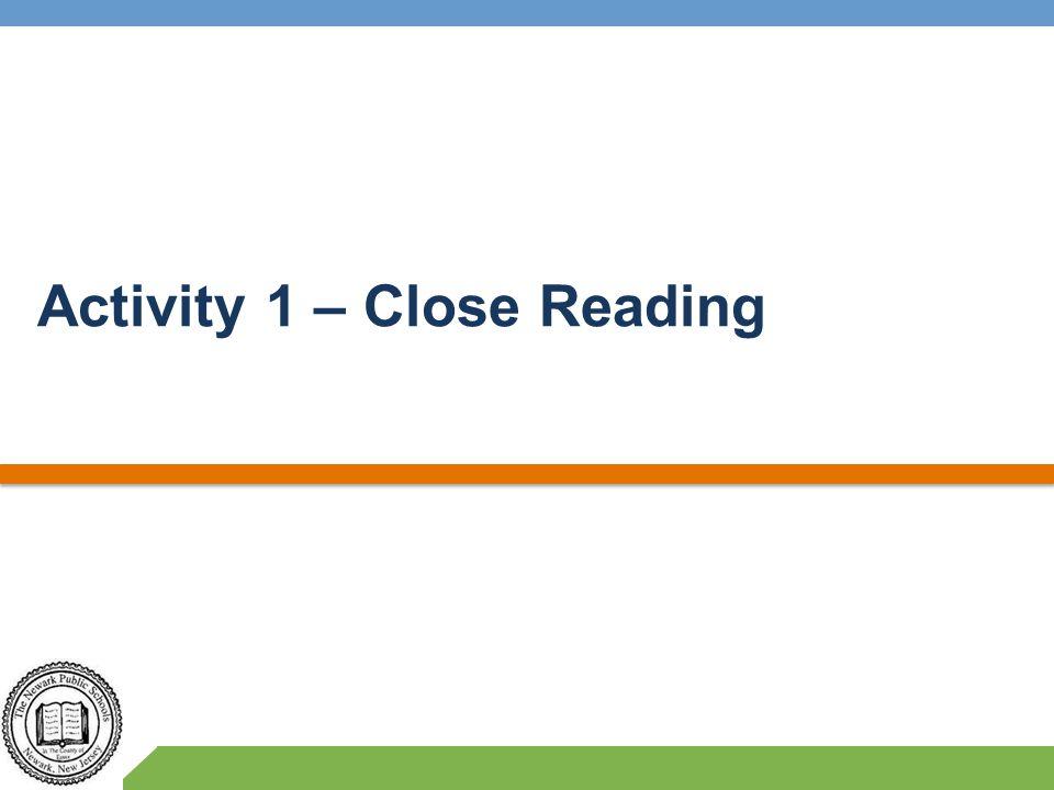 Activity 1 – Close Reading