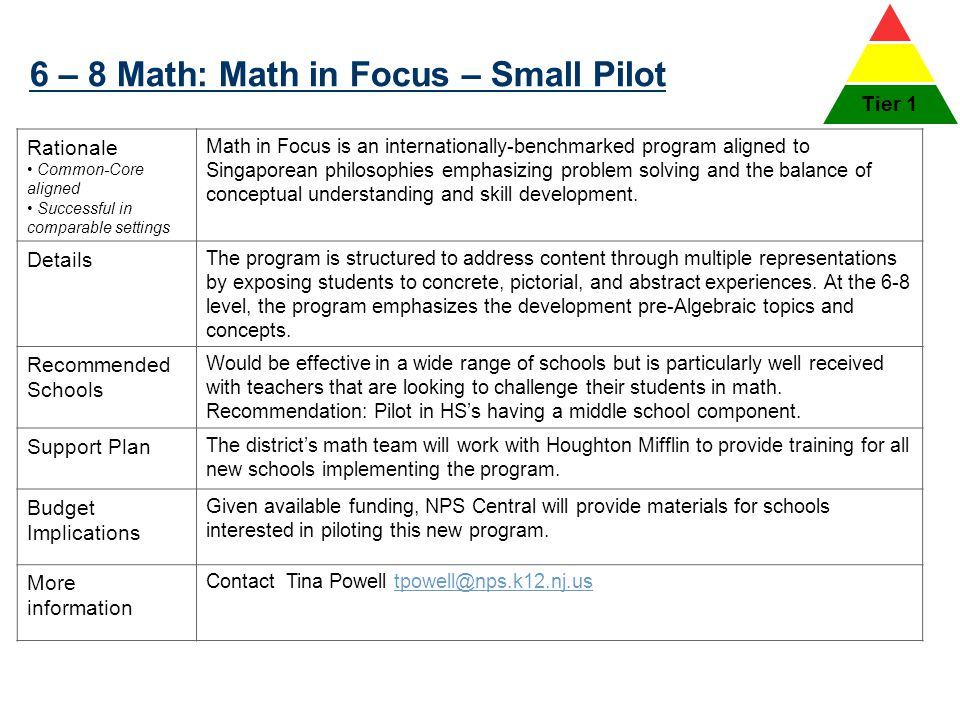 6 – 8 Math: Math in Focus – Small Pilot 36 Rationale Common-Core aligned Successful in comparable settings Math in Focus is an internationally-benchma