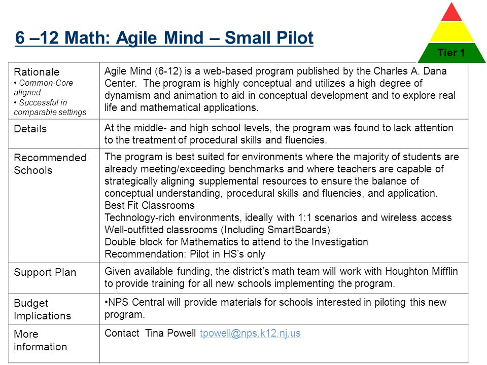 6 –12 Math: Agile Mind – Small Pilot 37 Rationale Common-Core aligned Successful in comparable settings Agile Mind (6-12) is a web-based program publi