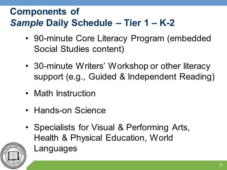 Sample Sequences for NPS K-8 Literacy Programs 8 Sequence 1 – High Structure & Support Core Knowledge Language Arts – K-2 Expeditionary Learning – 3-8 Writers' Express (with Readers' Workshop) – 9-12 Sequence 2 – Low Structure & Support NPS Unit Outlines – K-12 with Fundations K-2 with Wilson 3-12