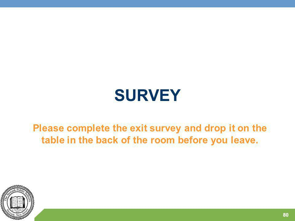 SURVEY 80 Please complete the exit survey and drop it on the table in the back of the room before you leave.