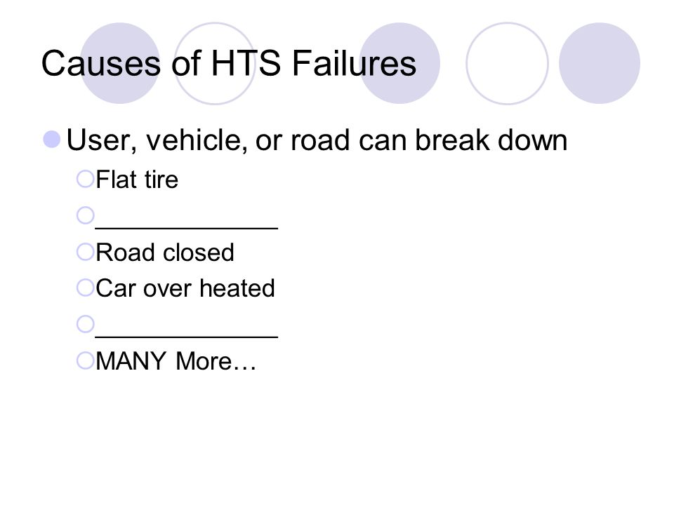 Causes of HTS Failures User, vehicle, or road can break down  Flat tire  _____________  Road closed  Car over heated  _____________  MANY More…