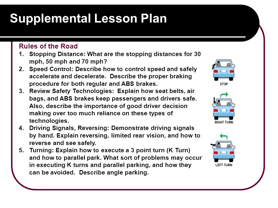 Supplemental Lesson Plan Rules of the Road 1.Stopping Distance: What are the stopping distances for 30 mph, 50 mph and 70 mph.