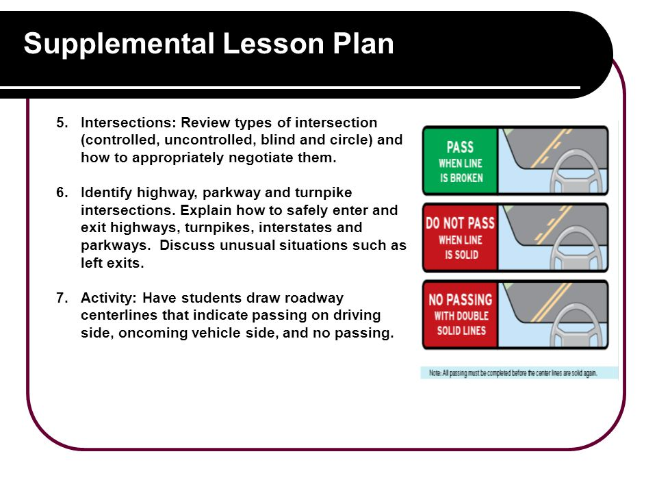 Supplemental Lesson Plan 5.Intersections: Review types of intersection (controlled, uncontrolled, blind and circle) and how to appropriately negotiate them.