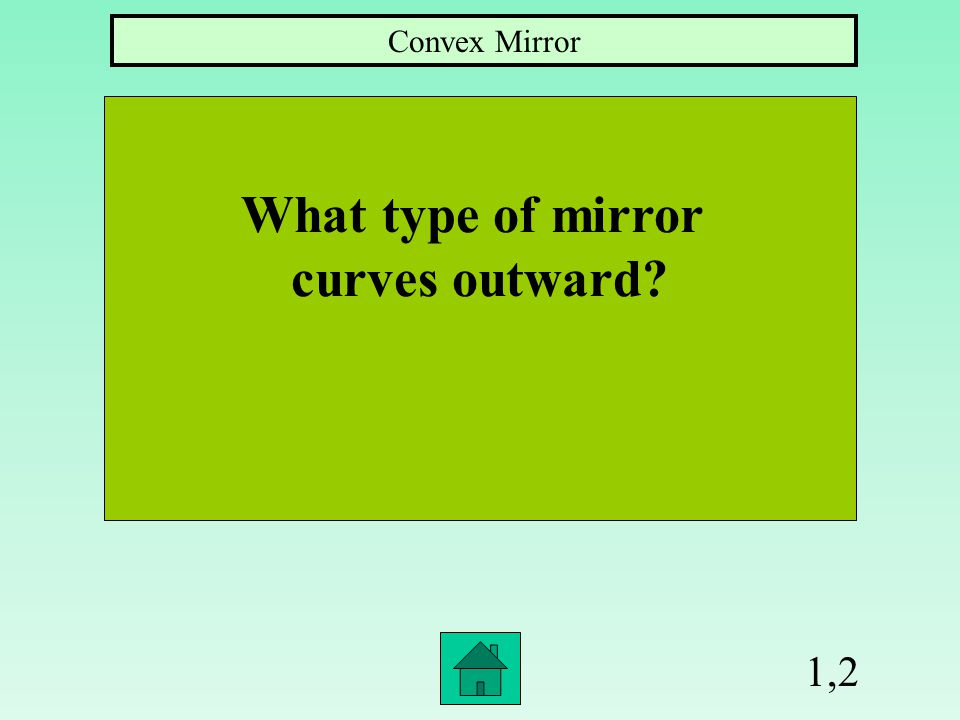 1,2 What type of mirror curves outward? Convex Mirror