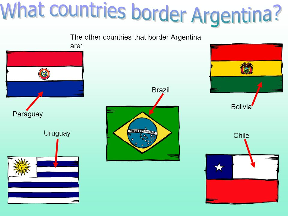 In the west of Argentina are the Andes Mountains. To the right of Argentina is the Atlantic Ocean. Mainly is rich plains in the northern half (the Pam