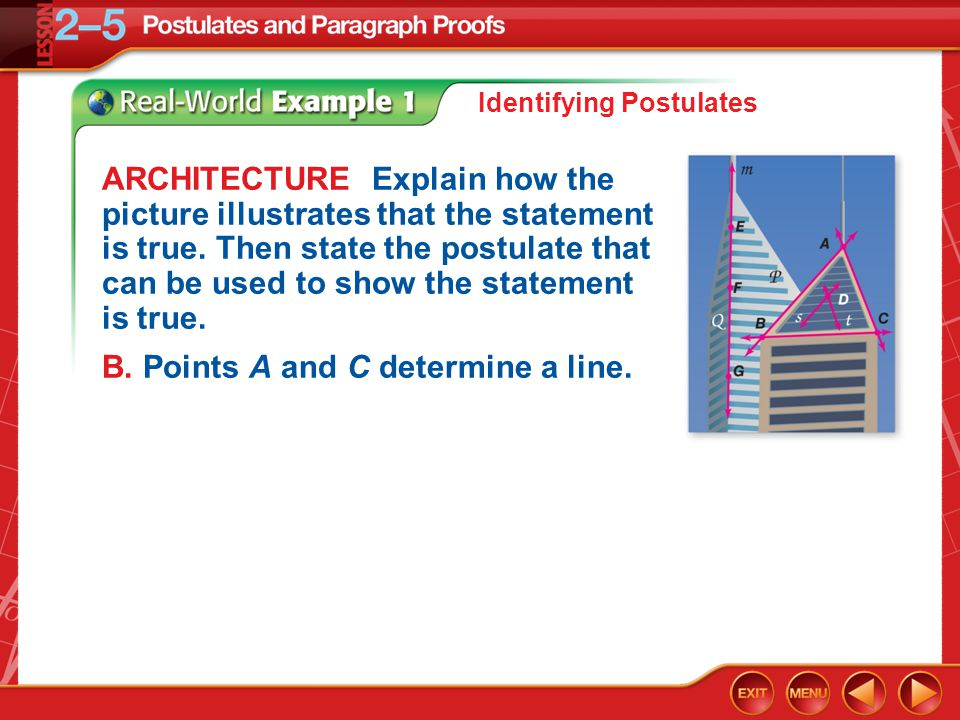 Example 1 ARCHITECTURE Explain how the picture illustrates that the statement is true. Then state the postulate that can be used to show the statement