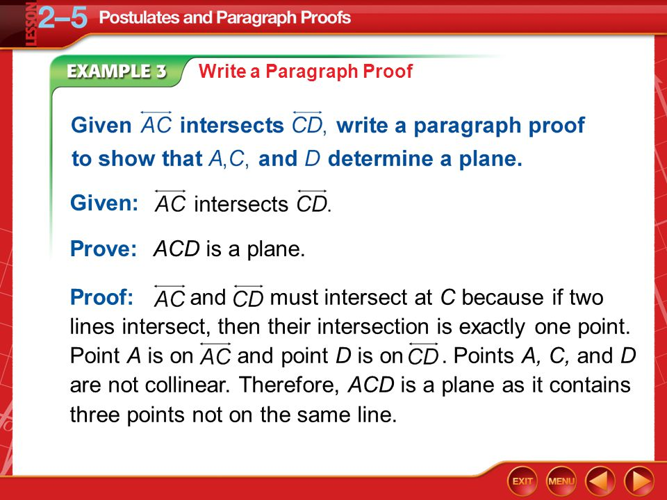 Example 3 Write a Paragraph Proof Given: Prove:ACD is a plane. Proof: and must intersect at C because if two lines intersect, then their intersection