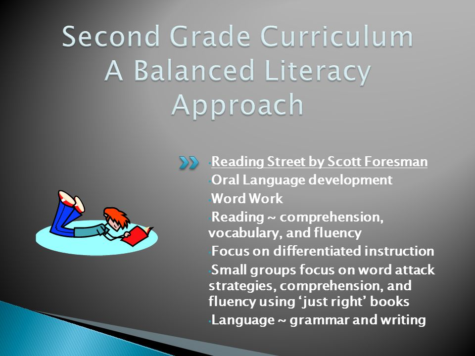 Reading Street by Scott Foresman Oral Language development Word Work Reading ~ comprehension, vocabulary, and fluency Focus on differentiated instruction Small groups focus on word attack strategies, comprehension, and fluency using 'just right' books Language ~ grammar and writing