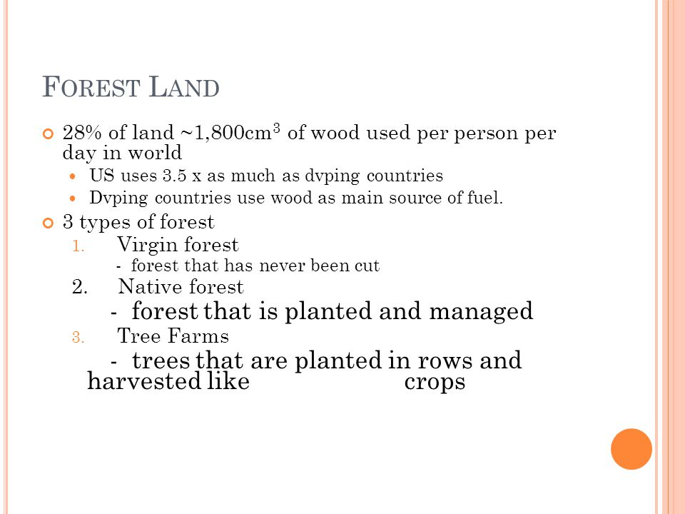 F OREST L AND 28% of land ~1,800cm 3 of wood used per person per day in world US uses 3.5 x as much as dvping countries Dvping countries use wood as m